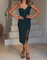 Hot Women's Bandage Dress Bodycon Ruffles Skinny Solid One Shoulder V Neck Sexy