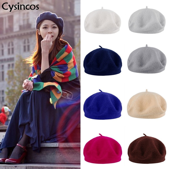 2019 Hot Sale Lady Autumn Winter Berets Hat Painter Style Women Wool Vintage Berets Solid Color Caps Female Bonnet Walking Cap