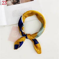 50*50cm Fashion Polka Dot Leopard Silk Scarf DIY New Styles Women Head Neck Satin Hair Ties Bands Small Square Scarf Neckerchief