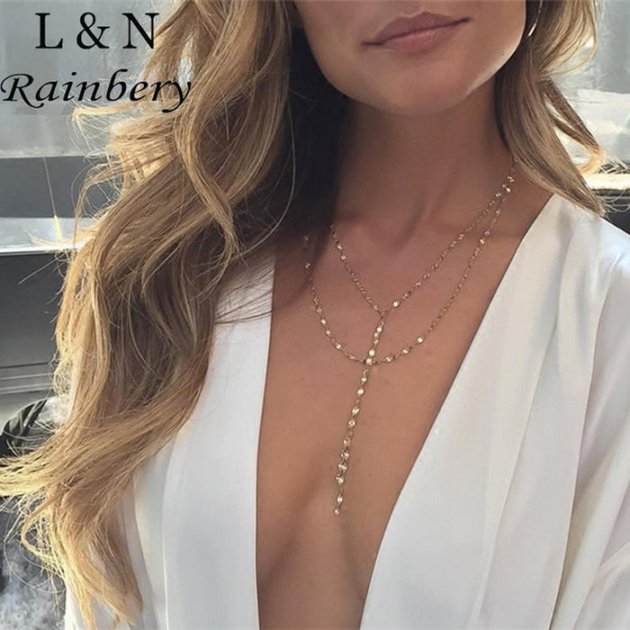 Rainbery Sexy Double Strand Lariat Necklace Multi Layer Necklace Gold Y Long Tassel Daint Jewelry Collier Collares Femme Bijoux