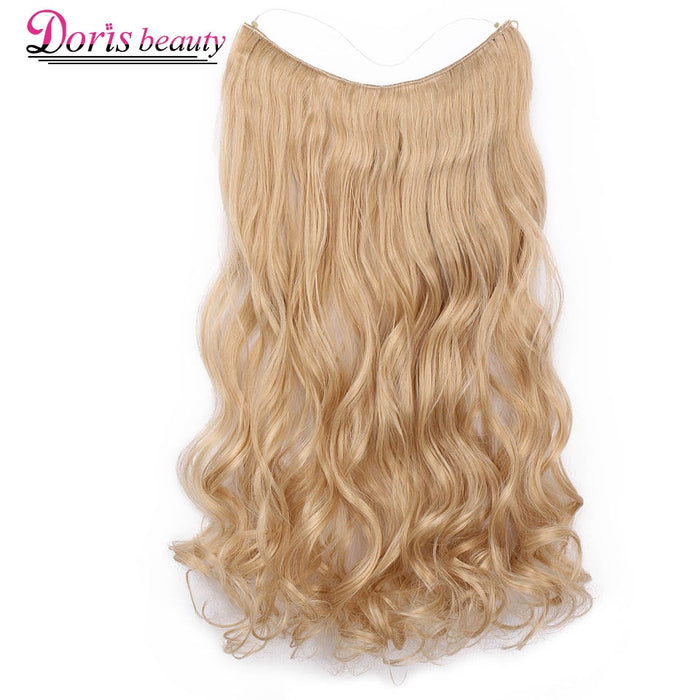 Doris beauty 20 inch Invisible Wire No Clip One Piece Halo Hair Extensions Secret Fish Line Hairpieces Wave Synthetic for Women