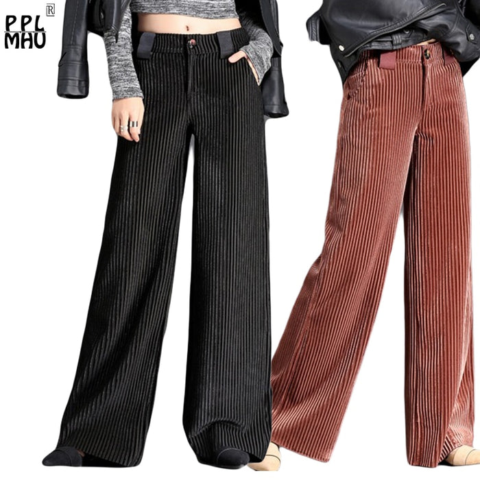 Hot Sale Velet Pants Women's Trousers With High Waist Female Loose Large Size