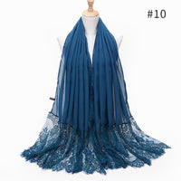 Long Lace Turban Femme Solid Color Soft Panel Scarf Shawl Hijab Muslim Headscarf Wholesale