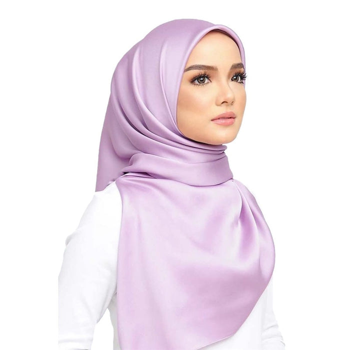 90*90cm Square Turban Satin Instant Hijab Solid Woman Wrap Scarf