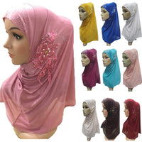 Muslim Women Hijab Hats Flower Amira One Piece Headscarf Islamic Shawl Wrap Caps Full Cover Prayer Hat Head Wrap Turban Fashion
