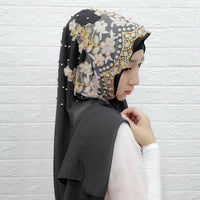 Fashion Woman hijab Solid Color Sequin Beading Sequins Chiffon Silk Popular Shawls Scarf Headband Muslim Turban abaya Diamonds