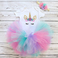 Unicorn Party Dresses For 1 Year Baby Girl Birthday Outfits Clothes Tutu Cake Smash Dresses Infant Christening Gowns 12 Months