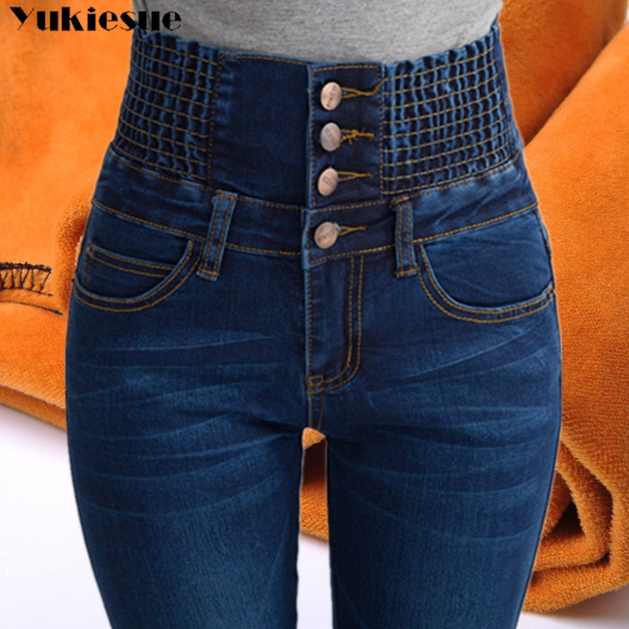Womens Winter Jeans High Waist Skinny Pants Fleece Lined Elastic Waist Jeggings Casual Plus Size Jeans For Women Warm Jeans
