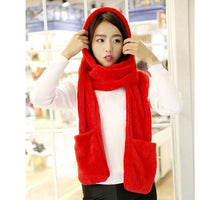 3 in 1 Women Winter Warm Soft Hooded Scarf Snood Pockets Gloves Scarfs Hat New