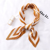Designer Pleated Square Scarf Silk Hair Band Women Crinkle Scarfs for Ladies Fashion Print Neck Scarves
