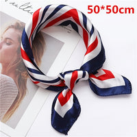50*50 CM Small Square Silk Scarf for Women Business Neck Head Scarfs Ladies Foulard Hair Band Tie Female Print Handkerchief