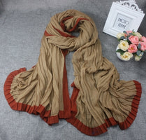 HOT SELLING The rectangular shape of the  Miyake pleated  discoloration rectangle and irregular Cotton scarves IN STOCK
