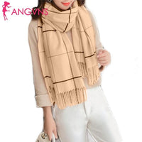 Tassel Rectangle Shawl Scarf Plaid Outdoor Casual Cardigan Wrap Scarves Winter Street Women