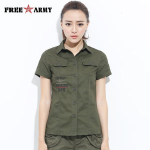 Freearmy Brand  Short Tee Shirt Top Women Shirt Military Army Green 2018 Women's