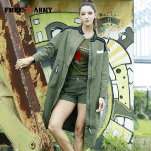 FreeArmy Oversized Winter Coat for Women Trench Coat Elegant Womens Coats Army