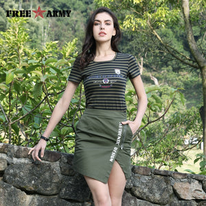 FreeArmy New Stripped Printed T Shirt Women Outdoor Casual Cotton Tee Female