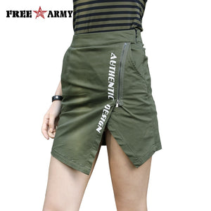 Fashion Sexy Summer Skirts Zipper Skirt For Women Military Army Green Short Skirt