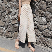 Summer Women Polka Dot Loose Pants Long Chiffon High Waist Wide Leg Pant Trousers Streetwear