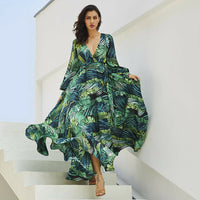 Floral V-Neck Long Maxi Dress Summer Beach Elegant