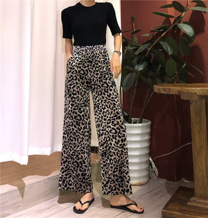 Spring Summer Womens Loose Fit Animal Print Leopard Pants With Elastic Waist