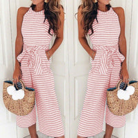 Women Elegant Sexy Jumpsuits Sleeveless Striped Round Neck Loose Cropped Trousers Wide Leg Pants Rompers Holiday Belted Leotard