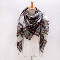 Winter Triangle Scarf For Women Brand Designer Shawl Cashmere Plaid Scarves Blanket  S027-style 2