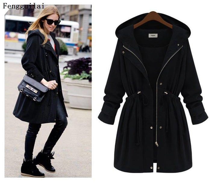 Plus Size 2019 Autumn Winter Women Fashion Hooded Puff Sleeve Women Trench Coat for Women Womens Plus Size Fashions Jacket