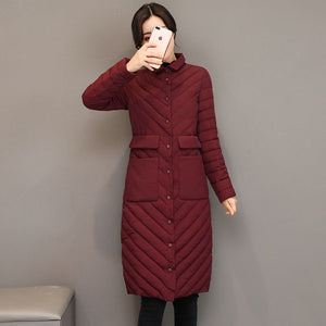 Winter Jacket Female light Parka Coat Long hoodie Down Cotton Jacket Plus Size 3XL Long  thick Parkas autumn Coat Jacket Women