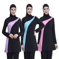 2019 Long Sleeve muslim plus size swimwear women Nylon maillot