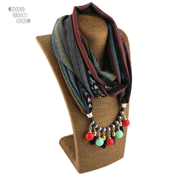 Bohemia women Jewelry Beads jewelry pendant necklace scarf femme chiffon shawls wraps female foulard muslim head scarves