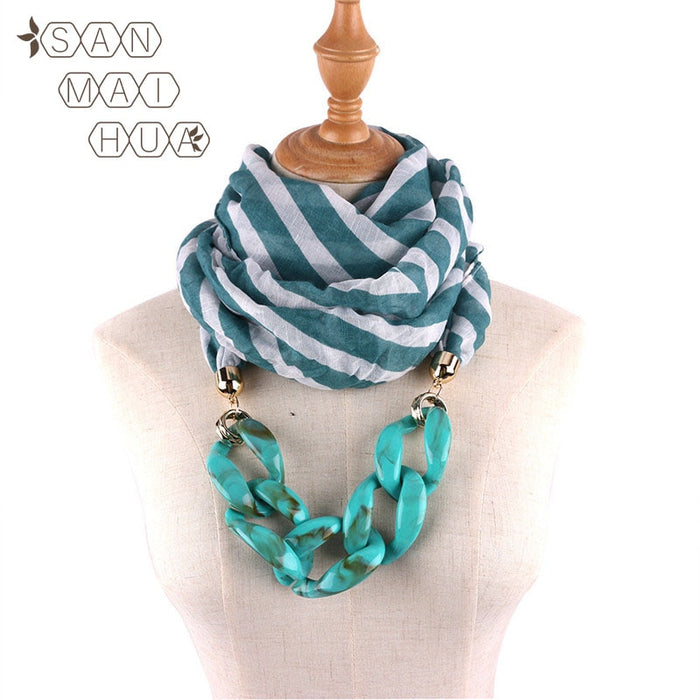 2019 New Women Plaid Necklace Winter Warm Jewelry Pendant Scarf Cotton Female Wraps Water drops Soft Hijab Muslim Head Scarves
