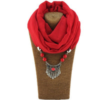 2019 New Women Solid Necklace Winter Warm Tassel Jewelry Pendant Scarf Cotton Female Wraps Soft Hijab Muslim Head Scarves