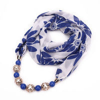 2019 women necklace scarf  beads pendant jewelry scarf summer National style foulard femme muslim head scarves