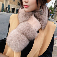 ZDFURS*  Real Fox  Fur scarf  with Rex Rabbit Fur Scarf Natural Fox Fur Muffler fox shawl collar fox