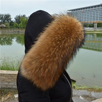 Winter 100% Real Natural Raccoon Fur Collar & Womens Scarfs Fashion Coat Sweater Scarves Collar Luxury Neck Cap WJ40