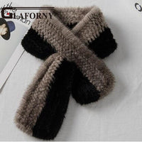 FXFURS 2019 Women Knited Mink Fur Scarves Mufflers 100% Real Fur Wraps Korean Style Winter Warm Fur Scarves