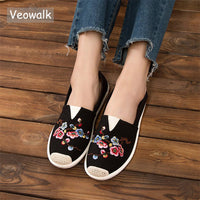 Veowalk Chinese Flower Embroidered Women Canvas Slip on Espadrilles Flats Leisure Ladies Slip on Comfort Loafer Driving Shoes