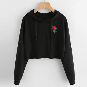 Autumn Hoodies For Women 2019 Rose Embroidered Long Sleeve Hooded Sweatshirts Female Jumper Autumn Pullover Hoodies #5$