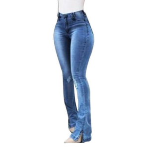 LASPERAL 2019 Solid High Waist Bell-Bottom Jeans Slim Fit Denim Women Jeans Push Up High Waist Long Flare Pants Skinny Mujer