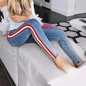 Sexy Striped High Waist Jeans Women Ankle-Length Lady Patchwork Skinny Jeans All Matched Casual Pants Brief Slim Winter Jeans