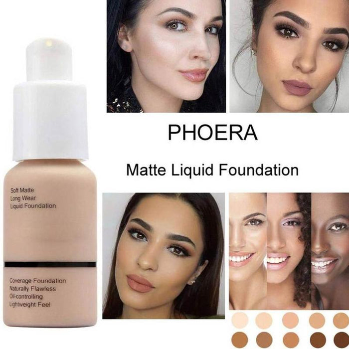 Long Wear Foundation Liquid Face Makeup Coverage Foundation Naturally Oil-controlling