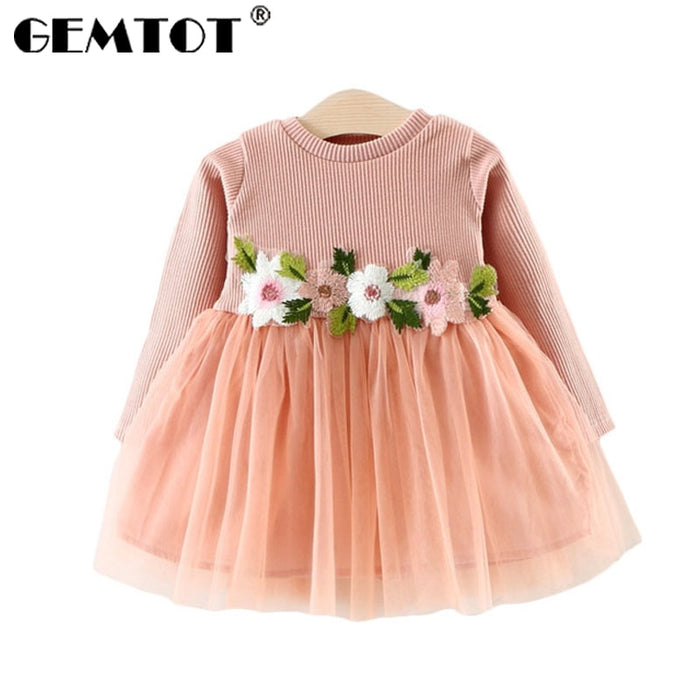 GEMTOT 2019New spring and autumn infant knit dress Long sleeves embroidery flowers cute tutu dress For 0-3 year old baby girl k1