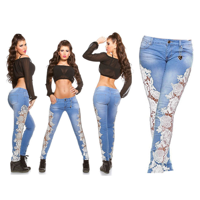 2019 New Woman Lace Floral Spliced Low Waist Slim Sexy Skinny Denim Jeans Casual
