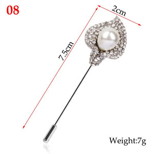 Classic Luxury Crystal Rhinestone Collar Lapel Pins Brooches For Women Flower Badge Pins Scarves Shawl Clothes Brooch Jewelry
