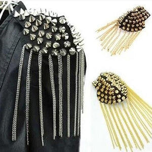 Hot Rivet Brooch Spike Tassel Epaulet Shoulder Board Mark Unisex Punk Jewelry
