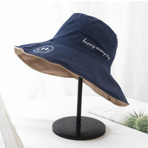 Wide Brim Reversible Summer Women Hat Cotton Large Brim Female Bucket Hat Two Side Wear Vacation Beach Panama Fishing Cap
