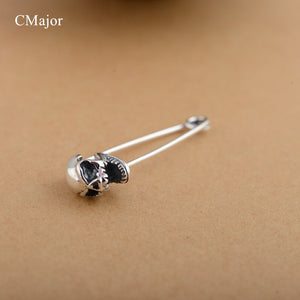 CMajor Sterling Silver Vintage Antique Skull Brooch Pins Scarf Safety Pins Jewelry for Men Women