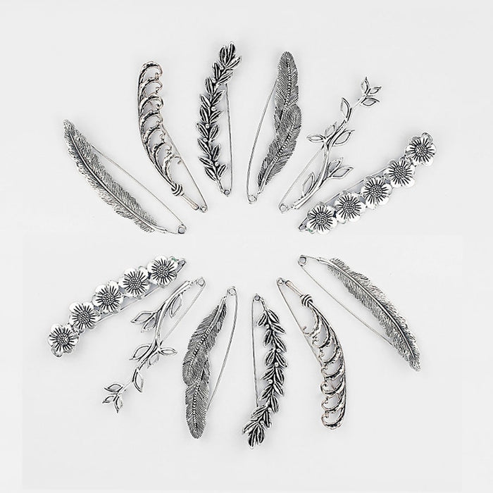 5pcs Antique Silver Scarf Strong Metal Pin Large Safety Large Leaves/Large Feather/Rose/Flower Kilt Scarf Brooch Safety Pin