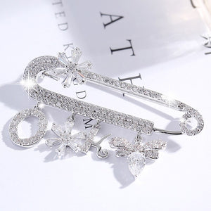 Shining Rhinestone Brooches for Women Safety Pins Jewelry Sparkly Gift