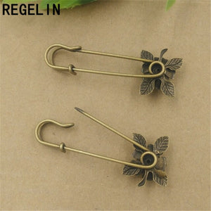 REGELIN Flower Brooch Settings Vintage Safety Pin Brooch 10pcs/lot 20mm for Women Men Retro Gift Brooches